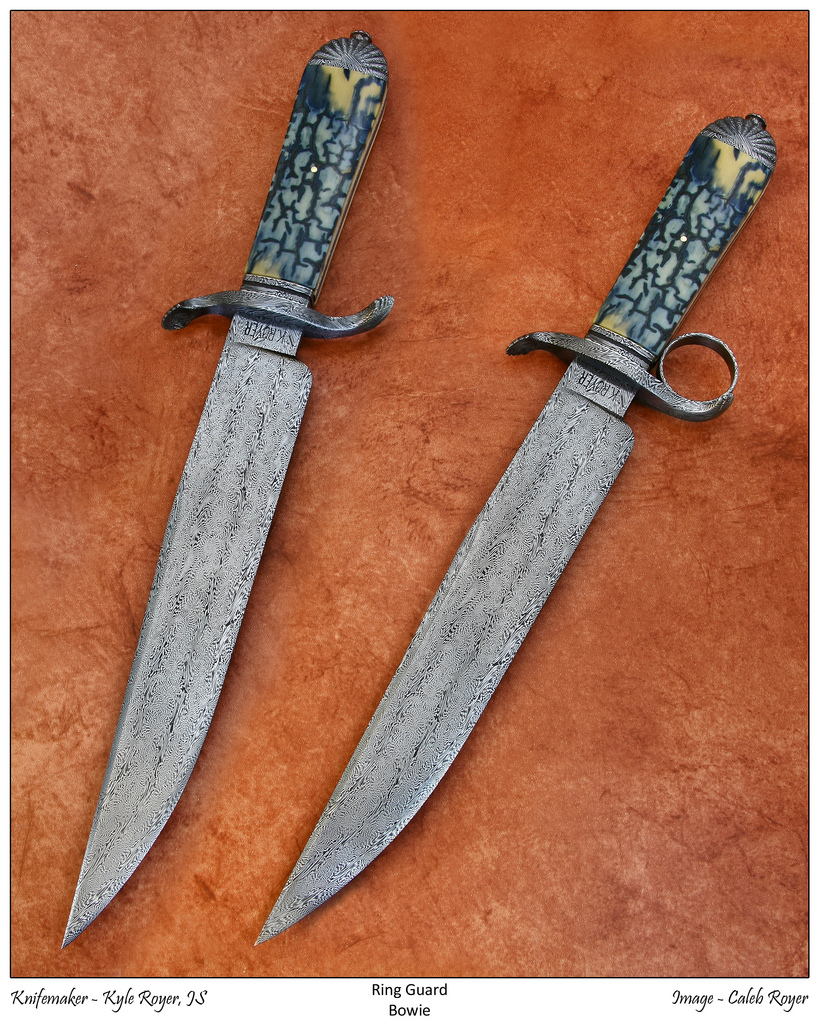 """KYLE ROYER MS, """"RING GUARD BOWIE"""", 2009 - THIS TAKE-DOWN BOWIE HAS INTERCHANGEABLE SHELL & RING GUARDS. ITS KYLE'S FIRST TAKE-DOWN KNIFE. THE FRAME CONSTRUCTED HANDLE IS MADE FROM EXHIBITION GRADE BLUE MAMMOTH IVORY AND HAS FILE-WORKED VINE & THORN STAINLESS STEEL LINERS AND A SINGLE 18K GOLD PIN. THE BLADE IS KYLES FOUR BAR EXPLOSION PATTERN DAMASCUS OF 1080&15N20 STEELS. THE TWO GUARDS, FRAME, SPACERS, REAR PUMMEL, FINALE AND TAKE-DOWN TOOL ARE ALSO EXPLOSION PATTERN DAMASCUS. HAS A CUSTOM SHEATH MADE OF TOOLED LEATHER AND ALLIGATOR SKIN (TAIL W/SPINE FIN) INLAY. IT'S EQUIPPED WITH AN EXPLOSION DAMASCUS FROG BUTTON AND ATTACHABLE TAKE-DOWN TOOL POUCH. FEATURED IN MAR. '10 BLADE MAGAZINE ARTICLE """"THE COLLECTOR'S COLLECTOR"""" (PG.43), MAR.'11 BLADE MAGAZINE ARTICLE """"WHAT'S NEW"""" (PG.72) AND """"KNIVES 2011"""" (PG.77). OAL IS 14"""" (356MM) BL 9 (229MM)."""